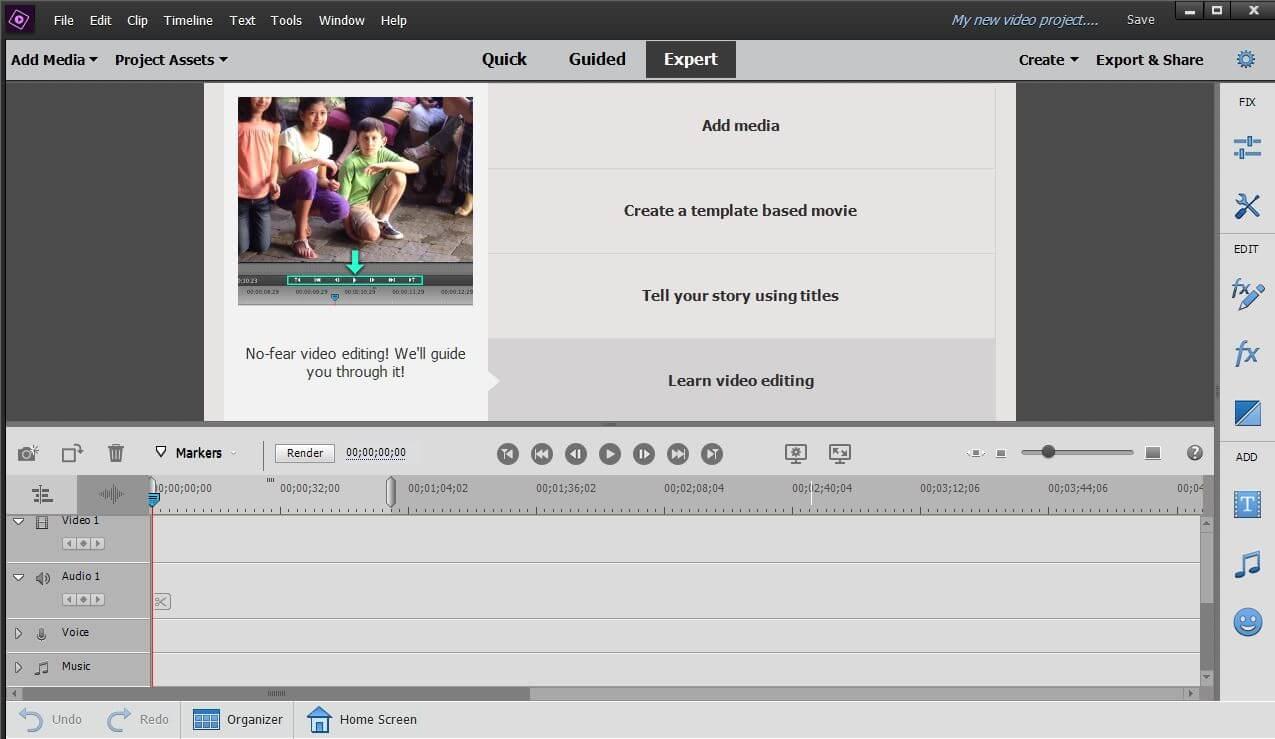 A Premiere Elements azonban fejlettebb szoftverének, a Premier Pro-nak a lecsökkentett változata