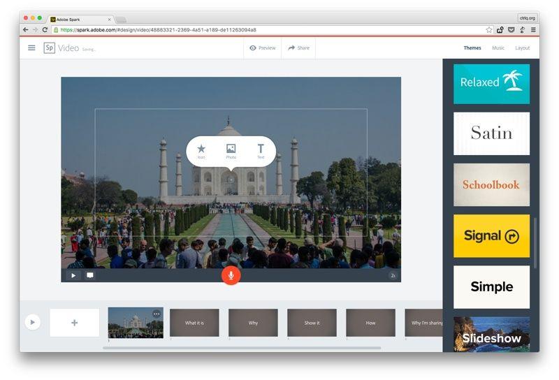 Adobe Spark video szerkesztő online